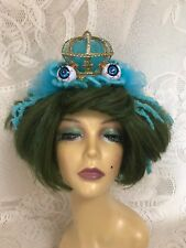 Green and Blue Short Frog Princess Wig with Crown and Sparkling Eyes