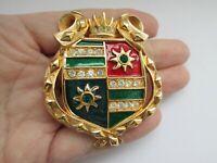 Swarovski Swan Gold Crystal Ruby Emerald Enamel Shield Heraldic Brooch Pin