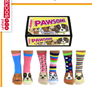 United Oddsocks Pawsome Pooch Oddsocks - Ladies Novelty Socks - Womens Gift Idea