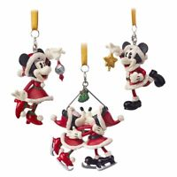 Disney Authentic Santa Mickey & Minnie Mouse Christmas Ornament Figure 3pc Set