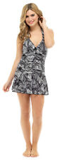 Womens Swimdress Tummy Support Control Panel Swimming Costume With Skirt Size Palm Print 16