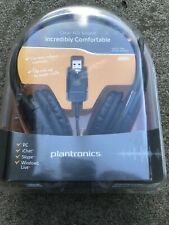 Plantronics Audio 655 DSP Black Stereo Headset NIB New USB 6.5 Foot Cable Mic
