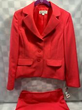 EVAN PICONE Jacket Skirt Melon Pink Textured Woman Suit Size 8 Pattern NEW