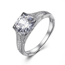 3.3ct White Topaz Fashion Antique Ring Hot Solid 10k White Gold 7mm to 8mm Round