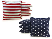 Stars and Stripes Cornhole Bags! Set of 8 - American flag Bags! 1 YEAR WARRANTY!