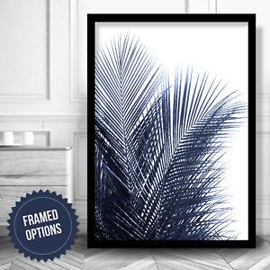 Botanical PALMS Navy Blue Wall Leaf Art PRINT Photo Poster Decor 2 Designs