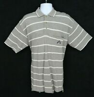 IZOD Polo Golf Shirt Mens Size M Gray White Stripes 100% Cotton Short Sleeve NWT