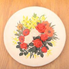 Raised Flowers Decorative Ceramic Plate Wall Hanging