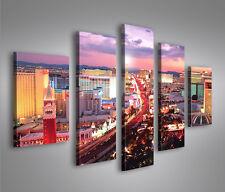 Las Vegas V2 MF 5 Bilder The Strip Poker auf Leinwand Wandbild Poster