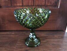 "VINTAGE CRYSTAL CUT  GREEN GLASS PEDESTAL BOWL DIAMOND POINT PATTERN 10"""