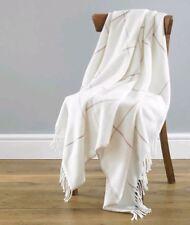 Isla Luxury Soft Wool Feel Ivory Check Dusky Pink Fringed Throw 130cm X 170cm