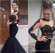 Black Lace Satin Mermaid Prom Evening Dress Celebrity Party Gown Custom Made