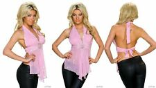WOMENS Pink Sequinned Chiffon Halterneck Top Size 8 10