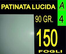 150 FOGLI CARTA PATINATA LUCIDA STAMPANTI LASER VOLANTINI 90g A4