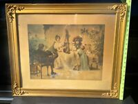 Antique Lithograph Girl Playing Harp Victorian Setting Fine Art Collectible