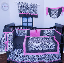 12 pieces Pink black flowers Damask baby girl crib bedding nursery set NEW