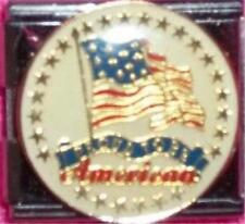 UNITED STATES PROUD TO BE AMERICAN FLAG ROUND ENAMEL ITALIAN CHARM 18MM USA RARE