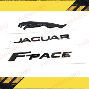 3pc Glossy Black Set Logo Emblem Rear Badge Decal For Jaguar F-Pace 2017+ V6 GAS