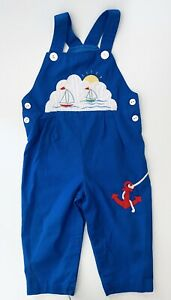 Vintage 24 Months Toddler Vintage Overalls , Blue Sailboat Nautical Baby Outfit