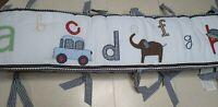 Pottery Barn Kids Crib Bumper Striped Gingham Blue ABC's