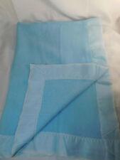 Blue Acrylic Baby Blanket Nylon Binding WPL1675 Made in USA Vintage