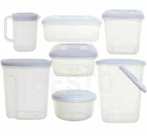 Clear Plastic White Lid Container Storage Box Airtight Kitchen Food Freezer Tub