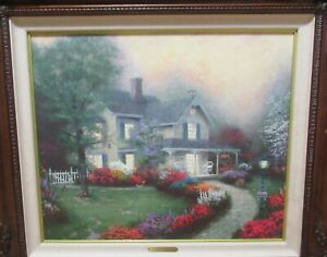 """THOMAS KINKADE """"HOME IS WHERE THE HEART IS"""" SIGNED EDITION CANVAS LITHOGRAPH"""