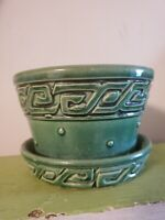 vintage MCCOY PLANTER dark green art pottery flower pot, retro, nice