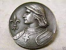 ANCIENNE MÉDAILLE BROCHE DE JEANNE D'ARC en argent massif