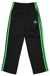 Adidas Youth Designator Track Pants, Black / Lime Green