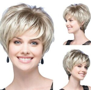 Stylish Women Pixie Cut BOB Wig Short Straight Hair Ombre Boy Cut Synthetic Wigs