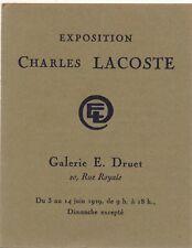Charles LACOSTE carte exposition 1923 galerie Druet liste oeuvres