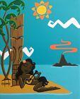 Clee Sobieski PRINT Hawaiian Tiki Bar Pin Up Hula Girl Polynesian Retro Seaside