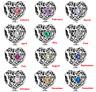 Authentic Gift Charm Usage Pandora Signature Beads HEART Birthstone Choose Month