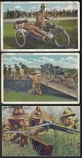 US 1900 MILITARY SIX PHOTO CARD OF AMERICAN ARMY IN ACTION MOTOR CYCLE AMBULANCE