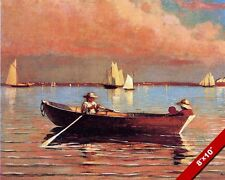 ROW BOAT IN THE BAY AT DUSK SUNSET OIL PAINTING ART REAL CANVAS GICLEEPRINT