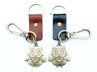 AuPra Owl Keyring Strong Leather Woman Bird Car Keychain Pendant Man Key Gift
