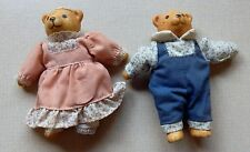 "2 Vintage Ceramic Russ Bears Girl & Boy 4.5"" Tall Clothes Are Removable"