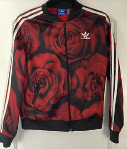 Adidas Womens Size Small Track Jacket Coat 🌹 Roses 🌹