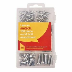 150 Piece Assorted Nut & Bolt Kit Set M3 M4 M5 M6 Nuts & Bolts Compartment Case