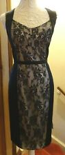 M&S AUTOGRAPH BLACK SATIN LINED SLEEVELESS SHIFT DRESS+ LACE PANEL 16 BNWT*REDUC