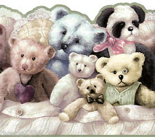 Teddy Bears Panda Stuffed Animal Kid Nursery Olive Green Trim Wall paper Border