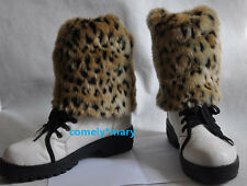 19cm leopard print faux fur funky leg warmers boots cover club shoes ADORNMENT