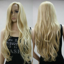 Women Long Wig Body Wave Curly Hair Blonde Middle Parted Heat Resistant Wig