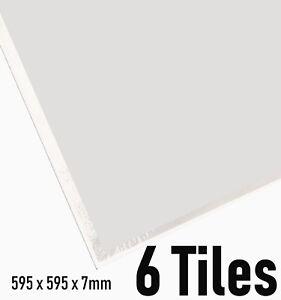 Suspended Vinyl Ceiling Tiles 600x600 Plain White EasyClean Wipeable 595mm 595mm
