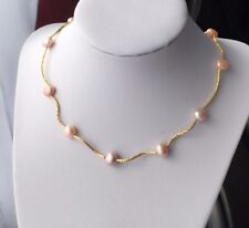 Rosa Halskette mit Baroque Perlen|Goldfarbige Perlenkette süßwasserperlen
