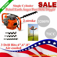 71cc 2 Stroke Post Hole Digger Petrol Engine Earth Auger Borer 3 Drill Bits