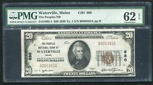 1929 $20 PEOPLES NB OF WATERVILLE, ME NATIONAL CURRENCY CH. #880 PMG UNC-62EPQ