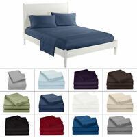 Soft Solid Bedding Set Flat Fitted Sheet Cover Pillowcases Twin Full Queen King
