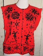 SEGUE vtg Red Black Ice Skating Snowflakes Embroidered Sweater Vest Womens  L